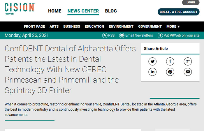 Screen of the article - ConfiDENT Dental of Alpharetta Offers Patients the Latest in Dental Technology With New CEREC Primescan and Primemill and the Sprintray 3D Printer