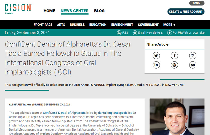 Screen of the article - ConfiDent Dental of Alpharetta's Dr. Cesar Tapia Earned Fellowship Status in The International Congress of Oral Implantologists (ICOI)